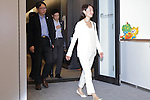 Newly-appointed Olympic minister Tamayo Marukawa is seen after meeting with New Tokyo Governor Yuriko Koike and Yoshiro Mori, head of the Tokyo 2020 Organising Committee in Tokyo, Japan on August 9, 2016. They agreed that they will work closely to deliver a successful Tokyo Olympics and Paralympics in 2020. (Photo by AFLO SPORT)