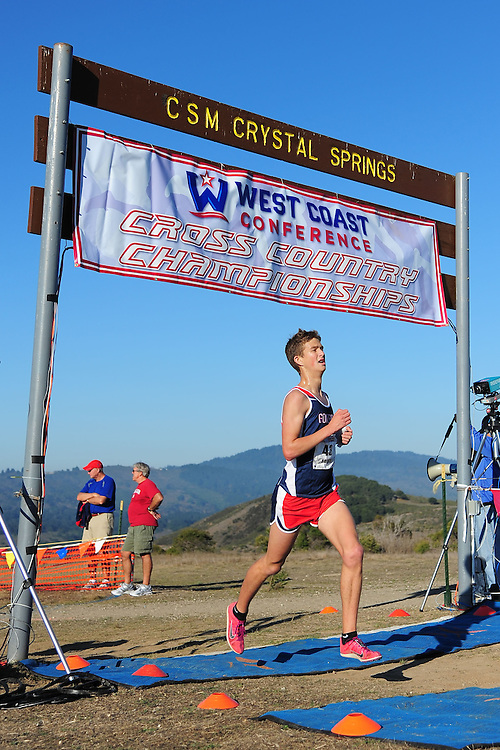 October 29, 2011; Belmont, CA, USA; Gonzaga Bulldogs runner Alex Foote (43) competes during the WCC Cross Country Championships at Crystal Springs.