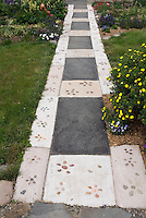 Concrete and flagstone paver walkway, decorated with pebbles 37709