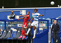 Ivan Cavaleiro of Fulham heads the ball on with Osman Kakay of Queens Park Rangers during Queens Park Rangers vs Fulham, Sky Bet EFL Championship Football at the Kiyan Prince Foundation Stadium on 30th June 2020