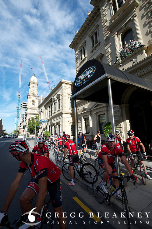 A Fosters Flying Tours group ride meets at the lobby of the Medina Grand Treasury Hotel - Thousands of group riders hit the pavement each morning before stages - 2012 Santos Tour Down Under - Adelaide