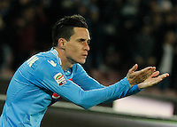 Jose Callejon  celebrates after scoring   during the Italian Serie A soccer match between SSC Napoli and AS Roma   at San Paolo stadium in Naples, March 09 , 2014