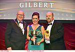 16-6-2019: Jay Origan-Mamma Morton-Chicago-Clara Musical Society, Offaly  winner of the Best Actress in a Supporting Role at the annual AIMS (Association of Irish Musical Societies) in the INEC Killarney at the weekend receiving the trophy from Seamus Power, President, AIMS left and Rob Donnelly, Vice-President.<br /> Photo: Don MacMonagle - macmonagle.com<br /> <br /> repro free photo from AIMS<br /> <br /> AIMS PRESS RELEASE: There was plenty of glitz and glamour in Killarney on Saturday night as The Association of Irish Musical Societies has its Annual Awards Ceremony in Killarney. Over 1,500 people could be heard over the Kerry mountains as the winners were announced by MC Fergal D'Arcy. Many societies were double winners on the night including UCD Musical Society, Dublin were dancing all the way to the trophies winning Best Choreography and Best Choreographer for Leah Meagher for Cabaret and  Tullamore Musical Society who took their moment as Chris Corroon won Best Male Singer for his sinful performance as Henry Jekyll in Jekyll &Hyde and also Director Paul Norton who'd plenty to celebrate picking Best Director for  the same show. The moment was once again taken by Jekyll&Hyde by Dùn Laoighaire Musical&Dramatic Society as Kevin Hartnett took up Best Male Singer in the Sullivan category.Nenagh Youth Musical Society raised their voices high and took home Best Ensemble. It was a superior night for Enniscorthy Musical Society by winning Best Comedienne for Jennifer Byrne as Mother Superior and Best Technical too. Portlaoise Musical Society rose to the top by taking home Best Overall Show in the Gilbert section for their stunning production of Titanic. Oyster Lane Theatre Group, Wexford flew their flag high taking home Best Overall Show in the Sullivan Section for their breathtaking production of Michael Collins-a Musical Drama.<br /> Other winners on the night included Best Comedian for Ronan Walsh as Officer Lockstock in Urinetown for Trim Musical Society, Best Actress in a Supporting Role for