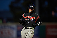 Lake Elsinore Storm catcher Luis Torrens (12) holds at first base during a California League game against the Rancho Cucamonga Quakes at LoanMart Field on May 19, 2018 in Rancho Cucamonga, California. Lake Elsinore defeated Rancho Cucamonga 10-7. (Zachary Lucy/Four Seam Images)
