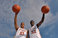 TALLAHASSEE, FL. 11/21/07-Florida State's Julian Vaughn, left, and Solomon Alabi are two freshmen the Seminoles have recruited to bring some size to their inside game. COLIN HACKLEY PHOTO