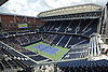 Newly-reopened Louis Armstrong Stadium hosts an exhibition doubles match between John McEnroe / brother Patrick McEnroe and Michael Chang / James Blake in Corona, NY on Wednesday, Aug. 22, 2018. The 14,000 seat stadium which features a retractable roof will host US Open matches starting Monday, Aug. 27.