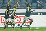 ***BETALBILD***  <br /> Solna 2015-05-31 Fotboll Allsvenskan AIK - Helsingborgs IF :  <br /> AIK:s Mohamed Bangura jublar med Ebenezer Ofori och Johan Blomberg efter sitt 3-1 m&aring;l under matchen mellan AIK och Helsingborgs IF <br /> (Foto: Kenta J&ouml;nsson) Nyckelord:  AIK Gnaget Friends Arena Allsvenskan Helsingborg HIF jubel gl&auml;dje lycka glad happy