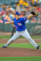 Round Rock Express starting pitcher Austin Bibens-Dirkx (31) delivers a pitch to the plate against the Salt Lake Bees in Pacific Coast League action at Smith's Ballpark on August 13, 2016 in Salt Lake City, Utah. Round Rock defeated Salt Lake 7-3.  (Stephen Smith/Four Seam Images)