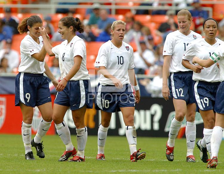 USA celebrates a goal, USWNT vs Canada April 26, 2003.