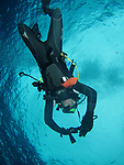 Orchid Island (蘭嶼), Taiwan -- Diver ascending  at Jichang Waijiao (機場外礁)