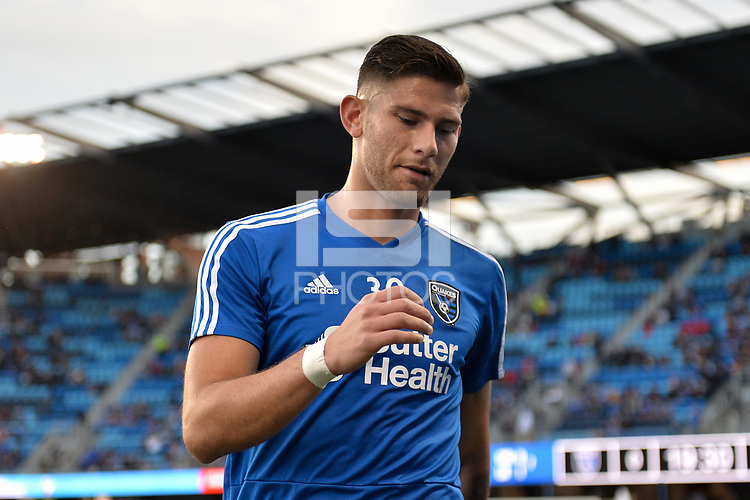 San Jose, CA - Saturday April 14, 2018: Yeferson Quintana prior to a Major League Soccer (MLS) match between the San Jose Earthquakes and the Houston Dynamo at Avaya Stadium.