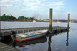 Scenic boat and dock in Georgetown South Carolina bay.