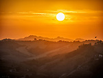 Sunset over the hills near Forli, Italy