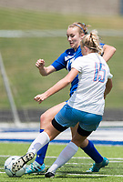 NWA Democrat-Gazette/CHARLIE KAIJO Rogers High School defender Ashlynn Robinson (17) and Southside High School Maddison Hagen (15) fight for the ball during the semifinals of the 7A Girls State Soccer Tournament, Saturday, May 12, 2018 at Whitey Smith Stadium at Rogers High School in Rogers. Rogers advanced to the finals when midfielder Skylurr Patrick (3) scored both of Rogers' goals defeating Southside High School, 2-1.