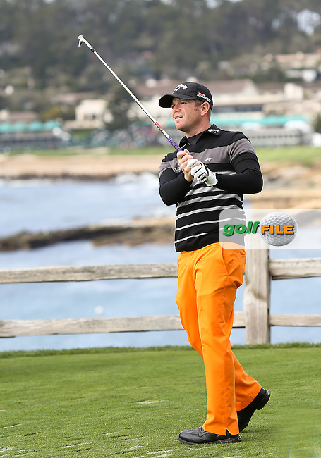 08 FEB 13  Aaron Watkins on the 7th tee during Friday's Second Round of The AT&T Pebble Beach National Pro-Am at The Pebble Beach Golf Links in Carmel, California. (photo:  kenneth e.dennis / kendennisphoto.com) Byline: Ken Dennis/ www.golffile.ie