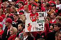 24 October 2009: Nebraska fan shows his support of backup quarterback Cody Green in the Iowa State game at Memorial Stadium, Lincoln, Nebraska. Iowa State defeated Nebraska 9 to 7.