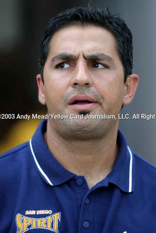 19 July 2003: Spirit head coach Omid Namazi. The Carolina Courage defeated the San Diego Spirit 1-0 at SAS Stadium in Cary, NC in a regular season WUSA game.