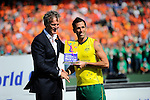 The Hague, Netherlands, June 15: Mark Knowles #9 of Australia is awarded as best player of the tournament during the prize giving ceremony on June 15, 2014 during the World Cup 2014 at Kyocera Stadium in The Hague, Netherlands. (Photo by Dirk Markgraf / www.265-images.com) *** Local caption ***