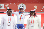 David Gaudu (FRA) Groupama-FDJ retains the White Jersey at the end of Stage 5 of the 2019 UAE Tour, running 181km form Sharjah to Khor Fakkan, Dubai, United Arab Emirates. 28th February 2019.<br /> Picture: LaPresse/Fabio Ferrari | Cyclefile<br /> <br /> <br /> All photos usage must carry mandatory copyright credit (&copy; Cyclefile | LaPresse/Fabio Ferrari)