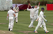 Cricket Scotland National League Final - Prestwick CC V Heriots CC at Meikleriggs, Paisley (Ferguslie CC) - Prestwick's Mitchell Rao celebrates a wicket - picture by Donald MacLeod - 20.08.2017 - 07702 319 738 - clanmacleod@btinternet.com - www.donald-macleod.com