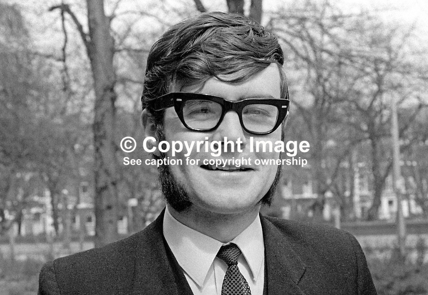 Kevin Finnegan, president, Students' Representative Council, Queen's University, Belfast, N Ireland, April, 1970. 197004000137<br />