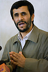 Mahmoud Ahmadinejad at his first press conference at the Majlis, Iran's Parliament after winning the Iranian presidential elections in 2005. Tehran, Iran, 12 July 2005. <br />