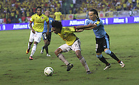 BARRANQUILLA -COLOMBIA, 11-OCTUBRE-2016.Acción de juego entre Colombia  y   Uruguay durante el  encuentro  por las eliminatorias al mundial de Rusia 2018  disputado en el estadio Metropolitano Roberto Meléndez de Barranquilla./ Action game between Colombia and Uruguay during the qualifying match for the 2018 World Championship in Russia Metropolitano Roberto Melendez stadium in Barranquilla . Photo:VizzorImage / Felipe Caicedo  / Staff