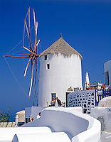 Greece; Cyclades; Santorini; Ia in Santorini's North: Windmill above the village