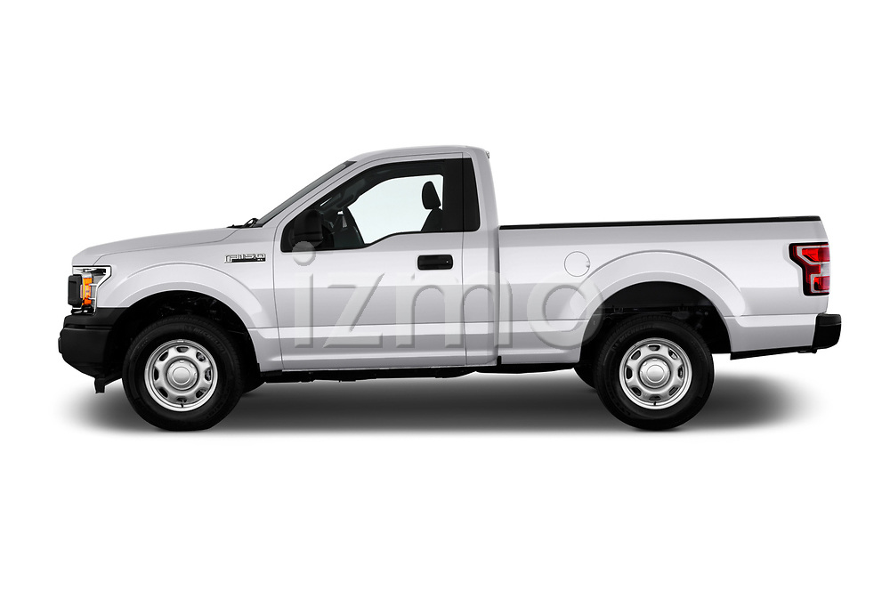 Car driver side profile view of a 2018 Ford F-150 XLT 4 Door Pick Up