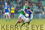 David Moran Kerry in action against Paul Hannan Limerick in the Final of the McGrath Cup at the Gaelic Grounds on Sunday.