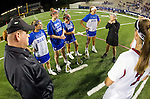 Costa Mesa, CA 02/20/16 - The USC and Duke team captains meet at midfield with the referees discussing good sportsmanship and protocols.