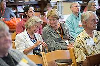 Alumni listen to Joseph Schulz, associate professor of biology, at the Special Collections: Cosman Shell Collection lecture, part of Occidental College's annual Alumni Reunion, Saturday, June 13, 2015. The Dieter Cosman Shell Collection is a large private collection of gastropod shells and bivalves.<br /> (Photo by Marc Campos, Occidental College Photographer)