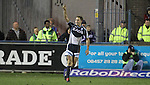 17 February 2012; Dan Parks celebrates victory for the Blues at the final whistle.,  Celtic League, Cardiff Blues v Ulster, Cardiff Arms Park, Cardiff, Wales..Picture credit: Steve Pope / SPORTINGWALES