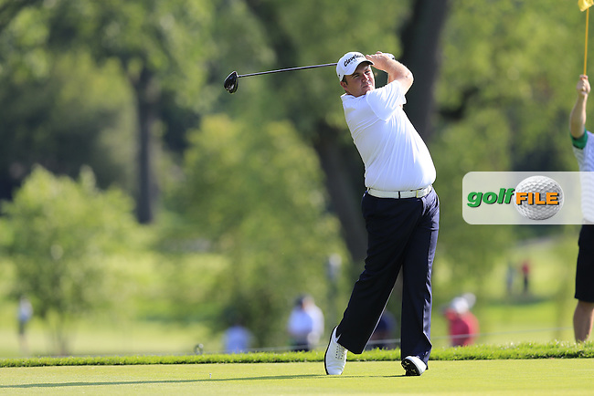 Shane Lowry (IRL) tees off the 9th tee during Thursday's Round 1 of the 95th US PGA Championship 2013 held at Oak Hills Country Club, Rochester, New York.<br /> 8th August 2013.<br /> Picture: Eoin Clarke www.golffile.ie