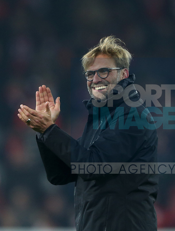 Jurgen Klopp manager of Liverpool enjoys the win during the Premier League match at the Anfield Stadium, Liverpool. Picture date: November 26th, 2016. Pic Simon Bellis/Sportimage