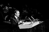 October 1968, Manhattan, New York City, New York State, USA --- French Foreign Minister Michel Debre speaks at the United Nations general assembly. --- Image by © JP Laffont
