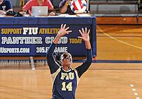 Florida International University women's volleyball player Renele Forde (14) plays against Tulane University.  FIU won the match 3-2 on September 9, 2011 at Miami, Florida. .