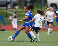 Boston Breakers midfielder Mariah Nogueira (20) passes the ball in front of Sky Blue FC forward Monica Ocampo (8).  In a National Women's Soccer League Elite (NWSL) match, Sky Blue FC defeated the Boston Breakers, 3-2, at Dilboy Stadium on June 16, 2013