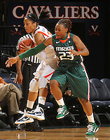 Jan. 6, 2011; Charlottesville, VA, USA; Virginia Cavaliers guard Ataira Franklin (23) runs into Miami Hurricanes guard Shanel Williams (23) during the game at the John Paul Jones Arena.  Mandatory Credit: Andrew Shurtleff-