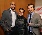 Keegan-Michael Key, Lea Salonga and John Leguizamo attends the Theatre Forward Broadway Roundtable on February 2, 2018  at UBS in New York City.