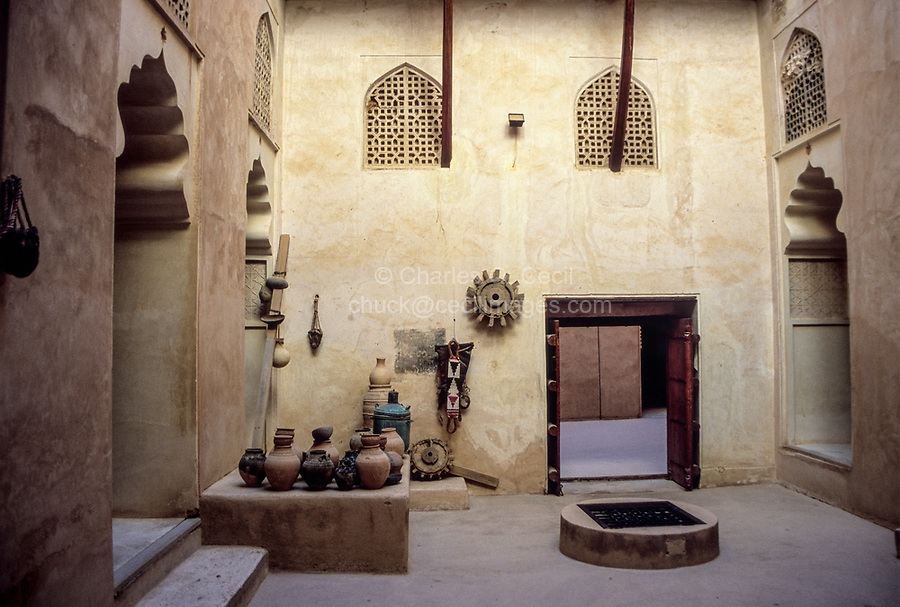 Jabrin, Oman.  An Inner Courtyard of the Fort, with Covered Well.