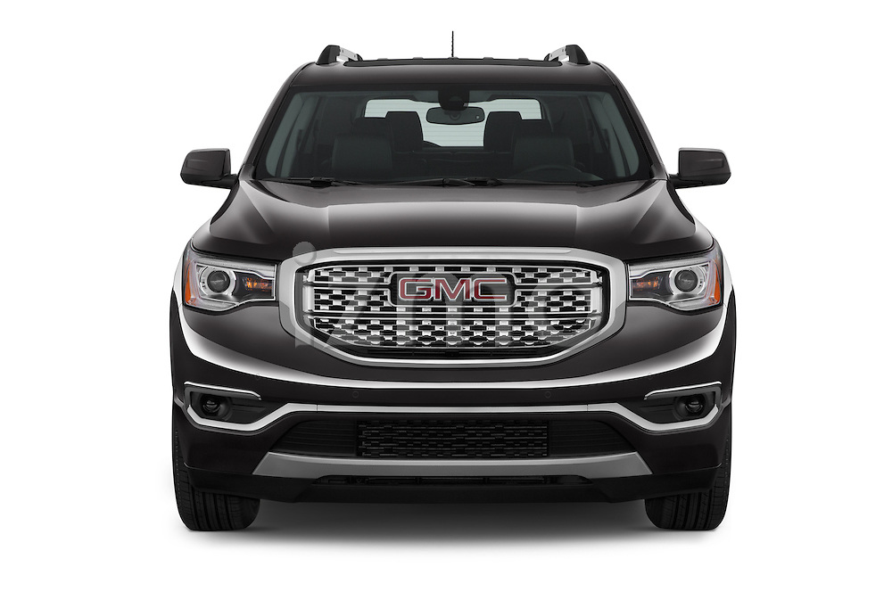 Car photography straight front view of a 2017 GMC Acadia Denali 5 Door SUV Front View