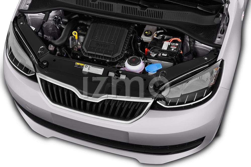 Car stock 2017 Skoda Citigo Ambition 5 Door Hatchback engine high angle detail view