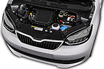 Car stock 2017 Skoda Citigo Ambition 5 Door Hatchback engine high angle detail view