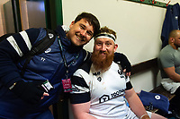 Bristol Bears Head of Media & Communications Tom Tainton with Jake Woolmore in the changing rooms after the match. Gallagher Premiership match, between Leicester Tigers and Bristol Bears on April 27, 2019 at Welford Road in Leicester, England. Photo by: Patrick Khachfe / JMP
