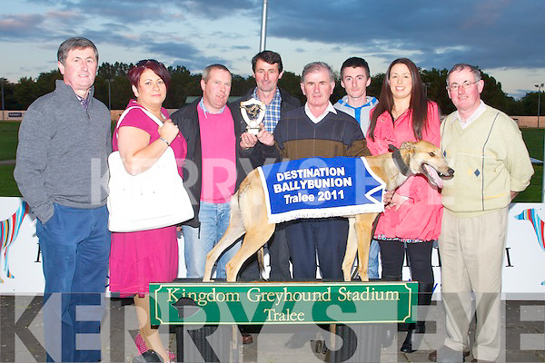 BALLYBUNION: Pat Barry (Barry Buses, Liselton) presenting Peter Regan owner of Oak Memory winner of the Barry Buses, Liselton 570 at part of the Destination Ballybunion Night at the Dogs at the Kingdom Greyhound on Friday l-r: Michael Regan, Joanne Kelly-Walsh (Destination Ballybunion), Pat Barry, Thomas Regan, Peter Regan, Shane Regan, Joanne Moriarty and Philip Regan.