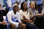 30 December 2014: UNC assistant coach Ivory Latta (right) with Jamie Cherry (left). The University of North Carolina Tar Heels hosted the University at Albany Great Danes at Carmichael Arena in Chapel Hill, North Carolina in a 2014-15 NCAA Division I Women's Basketball game. UNC won the game 71-56.