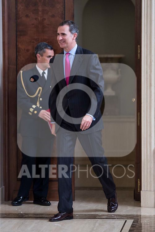 King Felipe VI of Spain receive in audience to a representation of the participants in the elaboration of legal spanish dictionary in Madrid. May 11, 2016. (ALTERPHOTOS/Borja B.Hojas)