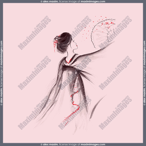 Exquisite geisha dancing with a sakura blossom fan artistic oriental style illustration, Japanese Zen Sumi-e ink painting on light pink background