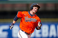 Pavin Smith (10) of the Virginia Cavaliers hustles towards third base against the Duke Blue Devils in Game Seven of the 2017 ACC Baseball Championship at Louisville Slugger Field on May 25, 2017 in Louisville, Kentucky.  The Blue Devils defeated the Cavaliers 4-3 to advance to the Semi-Finals. (Brian Westerholt/Four Seam Images)